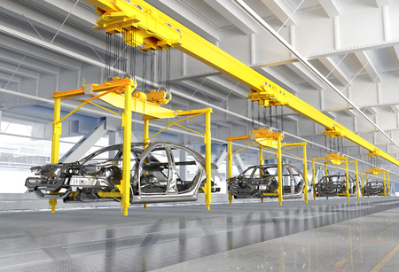 The conveyor for assembly of cars.3d render Stock Photo