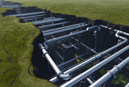 catalytic: Pipes inside the earth fault..3d render