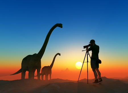 ifestyle: Silhouettes of photographer and dinosaur at sunset.,3d render