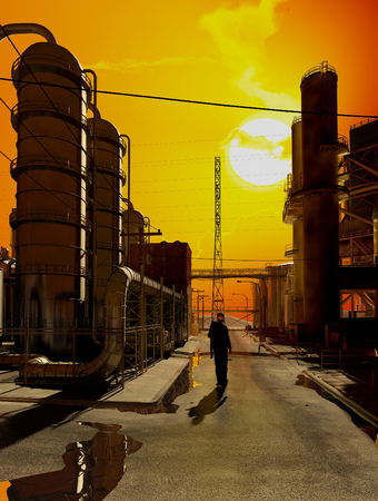 distill: Silhouette of a worker in the factory.,3d render