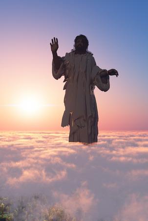 Wizerunek Jezusa w chmurach., 3d Zdjęcie Seryjne