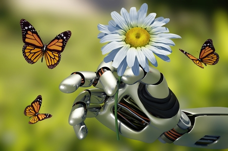 The mechanical arm and a flower.,3d render