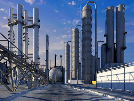 distill: Tubes of factory in the sky.,3d render