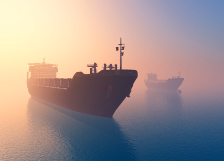 cargo transport: The  Tanker in the sea   ,3d render Stock Photo