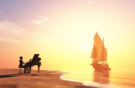 여자는 해안에 피아노를 연주. 3d 렌더링
