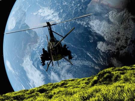 defence: Military helicopter against the backdrop of the Earth.