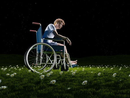 impairment: A man in a wheelchair on a background of green grass.3d render