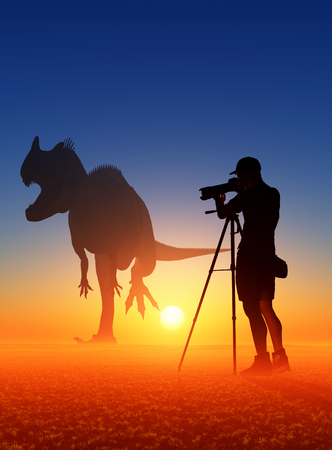 ifestyle: Silhouettes of photographer and dinosaur at sunset.3d render