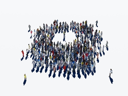 indian student: 3d illustration of a crowd of people on a white background. Stock Photo