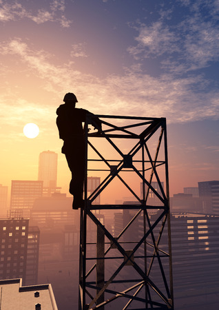 rende: Silhouette of the worker on the rig.3d rende
