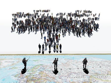 3d illustration of a crowd of people on a white background. Stock Photo