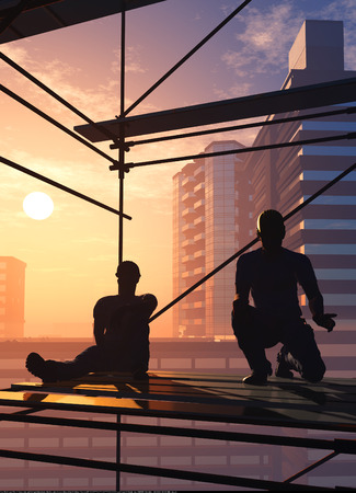 construction team: Silhouettes of workers against the background of the city. 3d render Stock Photo