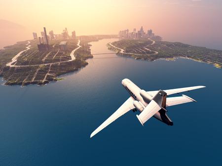 Modern aircraft flies over the island.3d render