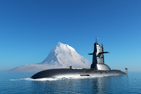 The military ship in the sea  .3d render Banco de Imagens