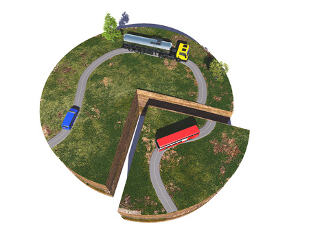 ring road: Model roads and transport on a white background. 3d render Stock Photo