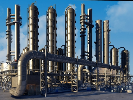 Catalyst: Tubes of factory in the sky.,3d render