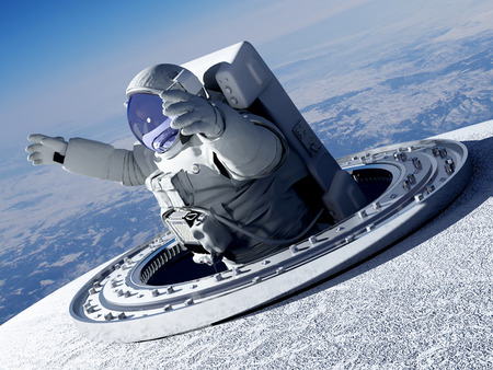Astronauta passa attraverso il portello nello spazio. rendering 3D