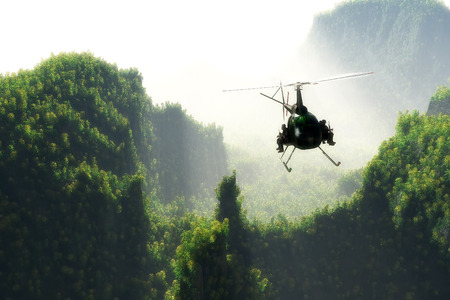 helicopter rescue: Civilian helicopter on a background an  landscape,3d render