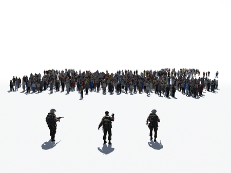 men and women: 3d illustration of a crowd of people on a white background. Stock Photo