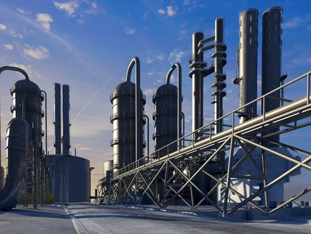 catalyst: Tubes of factory in the sky.3d render Stock Photo