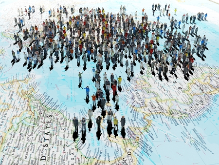 live work city: 3d illustration of a crowd of people on the world map.3d render