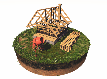 Casa di legno struttura su uno sfondo bianco., Rendering 3D