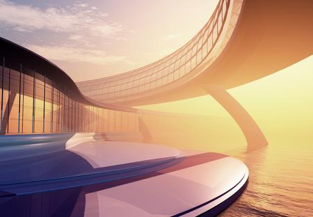 modern building: Modern building on a background sky ,3d render