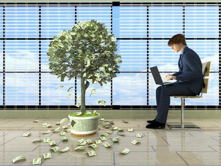falling money: Man with laptop near the money tree..3D rendering