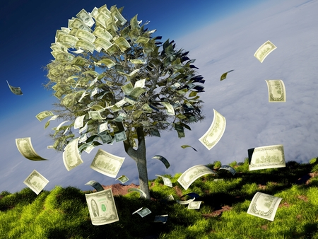Money tree on grass with daisies.3D render