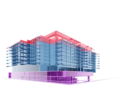 motion modern: The graphic image of building construction on a white background,3d render Stock Photo