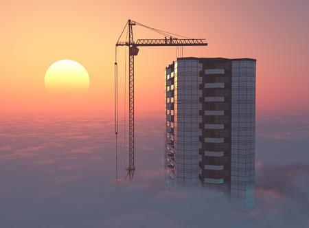 Moderne wolkenkrabber boven de wolken bij sunset.3d maken