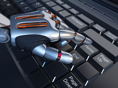 people on computers: A robotic arm on a laptop.3d render Stock Photo