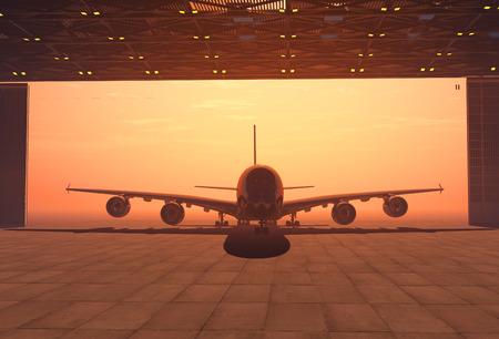 hangar: The  passenger aircraft in the hangar.  3d render Stock Photo