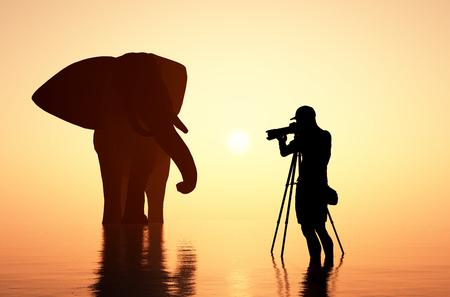 wild animal: Man photographing an elephant.3d render