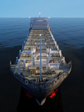 Draufsicht auf einen Tanker. .3d machen