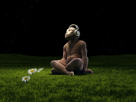 monkey clip: Monkey with headphones on the grass.3d render