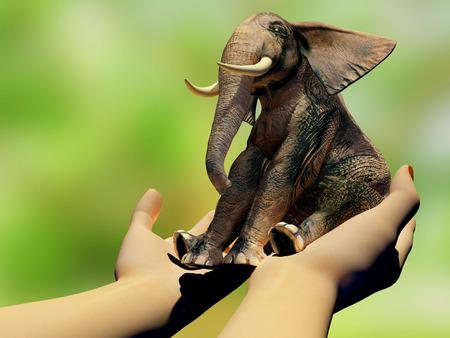 babies hands: Little elephant in the hands,3d render