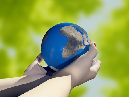 Model of the globe in his hand.3d render