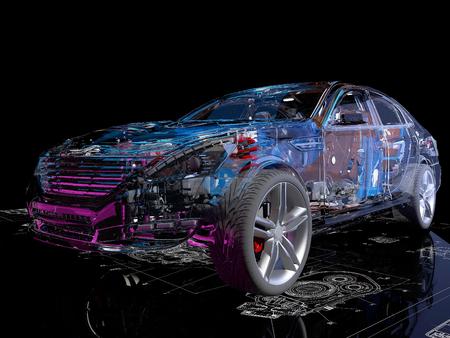 Modellini auto sullo sfondo del disegno., rendering 3d Archivio Fotografico