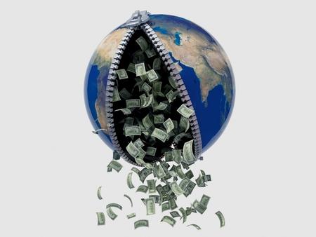 money falling: Money falling from the model of the globe. 3D render.