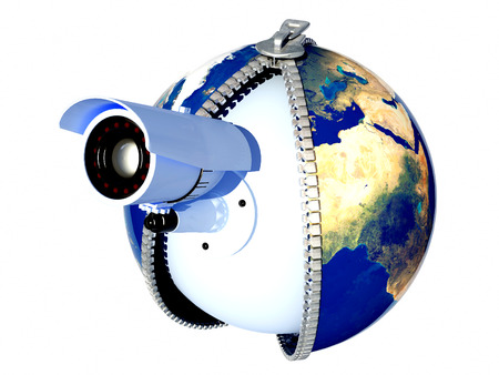 web cam: Web camera on the model of the globe.3d render