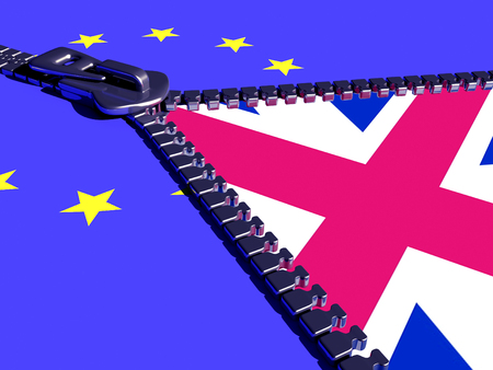 the european economic community:  Zipper on the flags of the EU and the England.3d render
