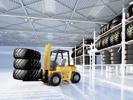 Truck in empty hangar. 3d render