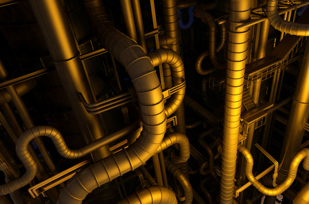 distill: A lot of pipes on a dark background.,3d render Stock Photo