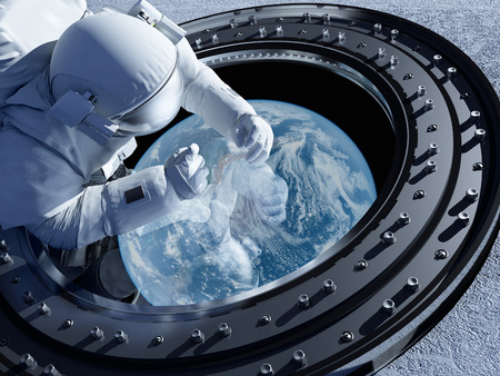 Astronaut is looking at Earth through the porthole