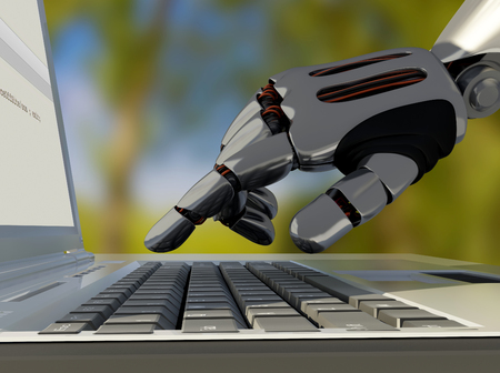 A robotic arm on a laptop.3d render Stock Photo