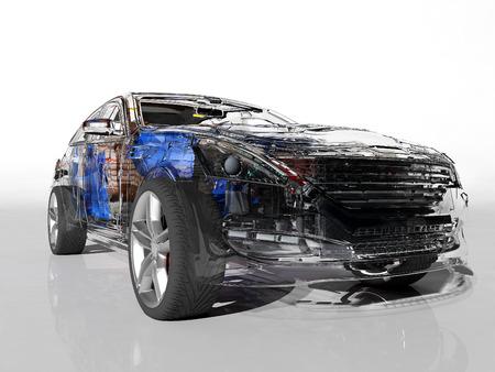 modellini di automobili su un background.3d bianco rendering
