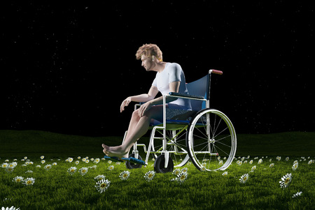 impairment: A man in a wheelchair outdoors.3d render Stock Photo