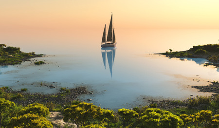 sailboat: Modern boat in the lake on the globe. 3d render Stock Photo