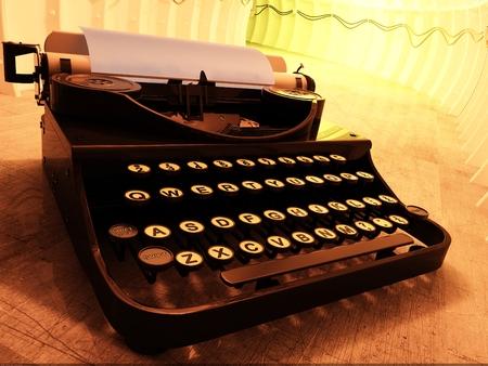 type writer: Vintage typewriter on a yellow background., 3d render Stock Photo
